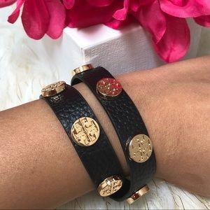 Tory Burch Black leather wrap bracelet